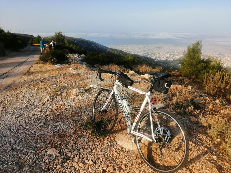 My bike at the top of Ymittos