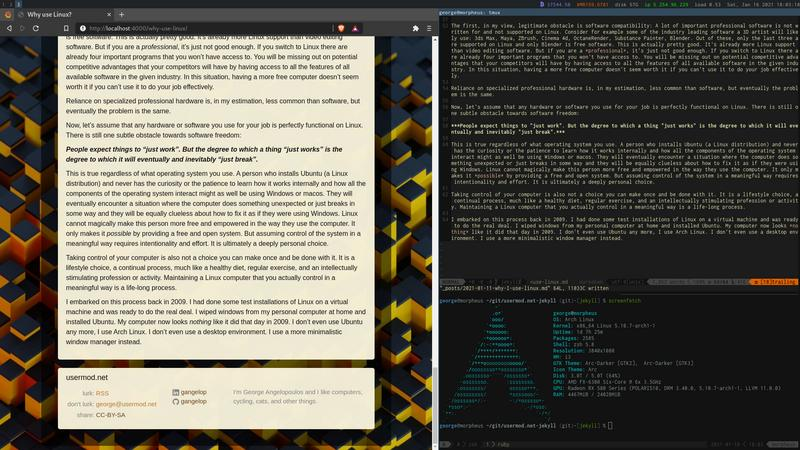 screenshot linux i3 window manager tmux neovim screenfetch
